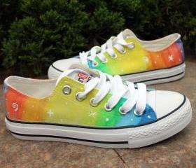 Hand-painted star ombre canvas shoes